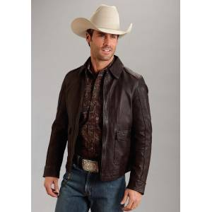 Stetson Leather Patch Pocket Jacket - Mens - Brown