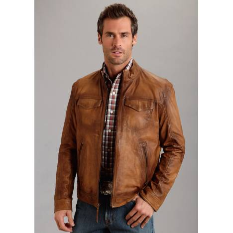 Stetson Burnish Leather Jacket - Mens - Brown