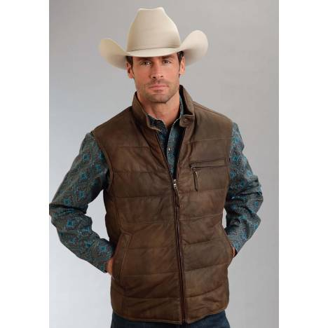 Stetson Leather Puffy Vest - Mens - Brown