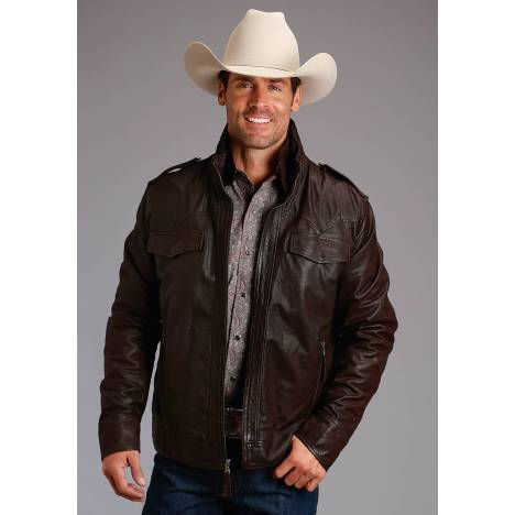Stetson Leather Jacket with Front Yokes - Mens - Brown