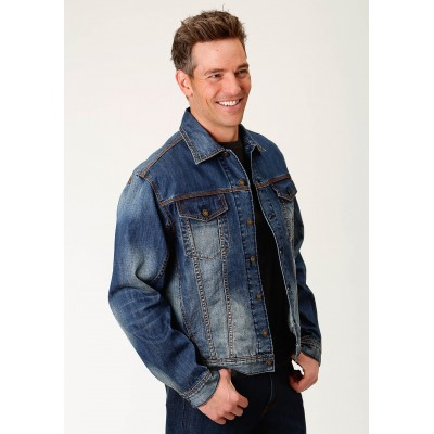 Stetson Denim Jacket with Logo - Mens - Blue