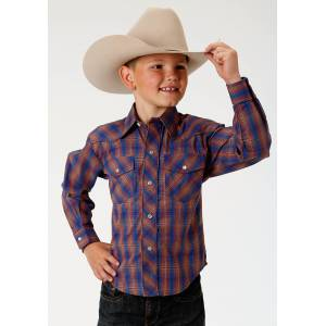 Roper Embroidered Yoke Western Shirt - Boys - Cobalt & Rust Plaid