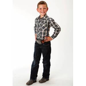 Roper Embroidered Yoke Western Shirt - Boys - Tan, Blue & Green Plaid