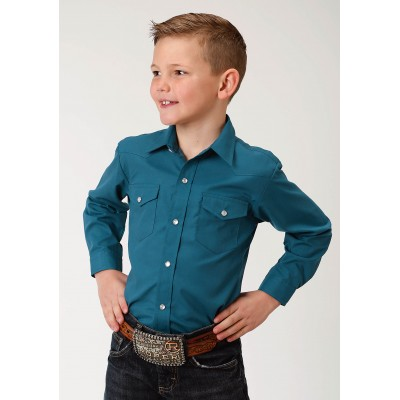 Roper Solid Color Broadcloth Western Shirt - Boys - Dark Teal
