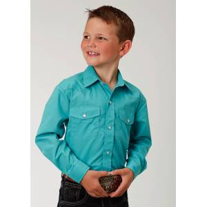 Roper Solid Color Broadcloth Western Shirt - Boys - Teal