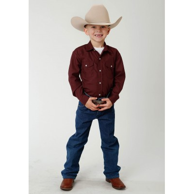 Roper Solid Color Broadcloth Western Shirt - Boys - Wine