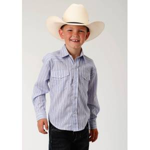 Roper Striped Snap Western Shirt - Boys - Blue, Wine & Grey