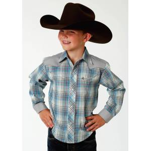 Roper Retro Contrast Western Shirt - Boys - Muted Multi