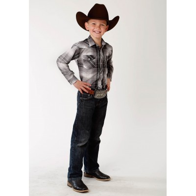 Roper Plaid Snap Western Shirt - Boys - Black, Grey & White