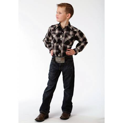 Roper Plaid Snap Western Shirt - Boys - Black & Tan