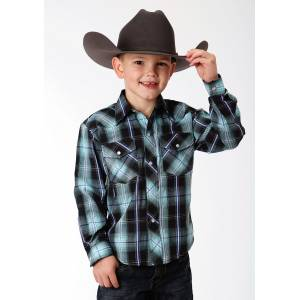 Roper Plaid Snap Western Shirt - Boys - Black & Blue
