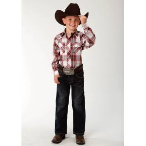 Roper Plaid Snap Western Shirt - Boys - Brown, Red & White