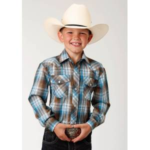 Roper Plaid Snap Western Shirt - Boys - Turquoise & Brown