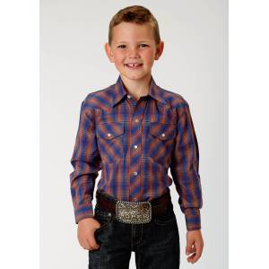 Roper Plaid Snap Western Shirt - Boys - Cobalt & Rust