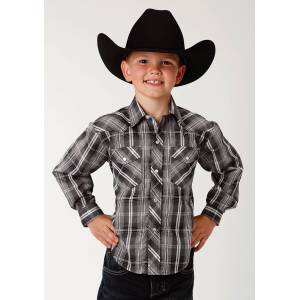 Roper Plaid Snap Western Shirt - Boys - Black, White & Grey