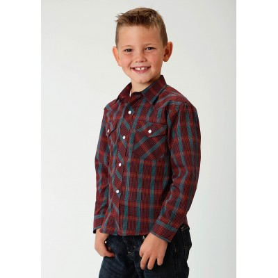 Roper Plaid Snap Western Shirt - Boys - Wine Rainbow Check