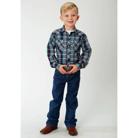Roper Plaid Snap Western Shirt - Boys - Multi Blue & Wine