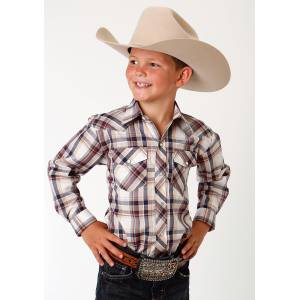 Roper Plaid Snap Western Shirt - Boys - Cream, Wine & Navy