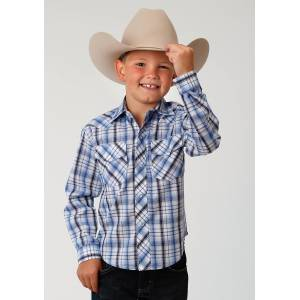 Roper Plaid Snap Western Shirt - Boys - Multi Blue & White