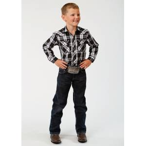 Roper Plaid Snap Western Shirt - Boys - Black & White