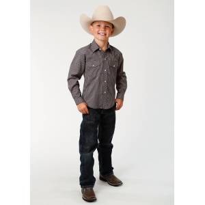 Roper Mini Check Western Shirt - Boys - Navy & Taupe