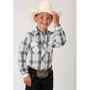 Roper Plaid Snap Western Shirt - Boys - Navy & Cream