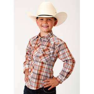 Roper Plaid Snap Western Shirt - Boys - Tan, Rust & Cream
