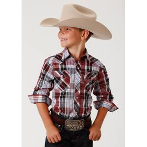 Roper Plaid Snap Western Shirt - Boys - Red, Lt. Blue & Black