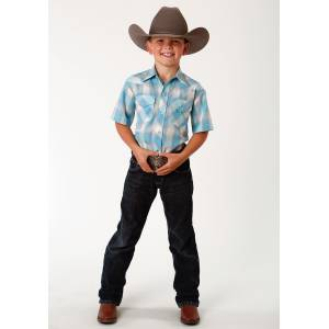 Roper Plaid Short Sleeve Western Shirt - Boys - Turquoise, Cream & Grey