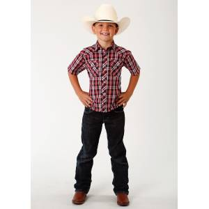 Roper Plaid Short Sleeve Western Shirt - Boys - Red