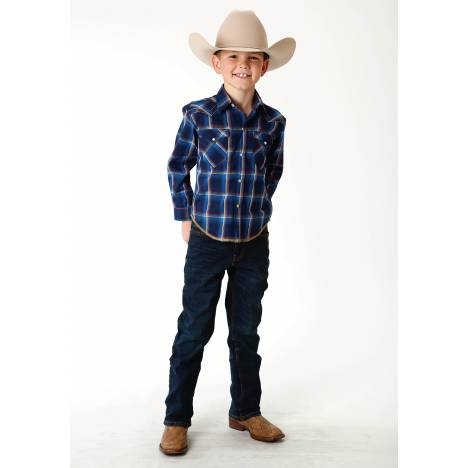 Roper Performance Western Shirt - Boys - Marine