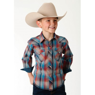 Roper Performance Western Shirt -Boys - Blanket Ombre Plaid