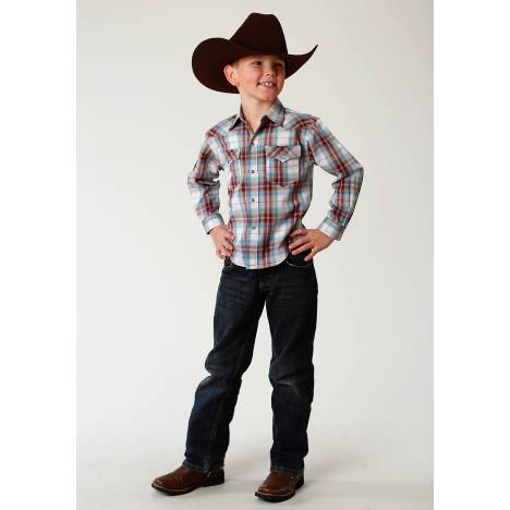 Roper Performance Western Shirt - Boys - Red Canyon Plaid