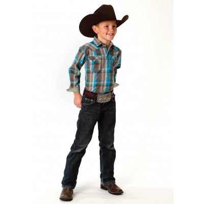 Roper Performance Western Shirt - Boys - Brown Bayou Plaid