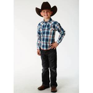 Roper Performance Western Shirt - Boys - Blue Lagoon Plaid