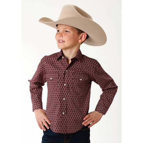 Roper Performance Print Western Shirt - Boys - Red Old Crow Geo