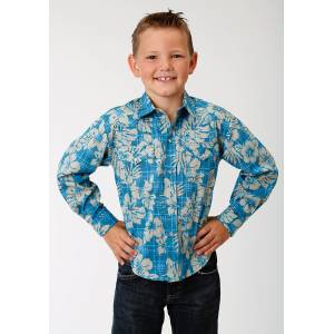 Roper Performance Hawaiian Western Shirt -Boys - Blue Tropical Plaid