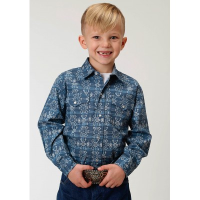 Roper Performance Print Western Shirt - Boys - Blue Retro Aztec
