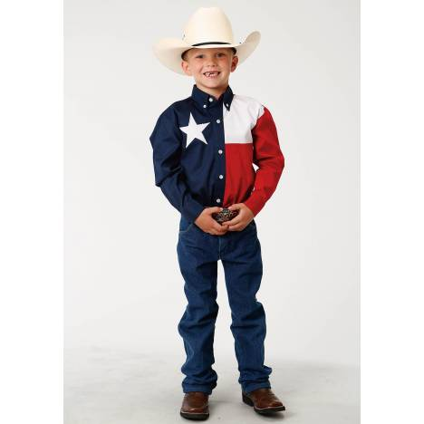 Roper Texas Pieced Flag Western Shirt - Boys