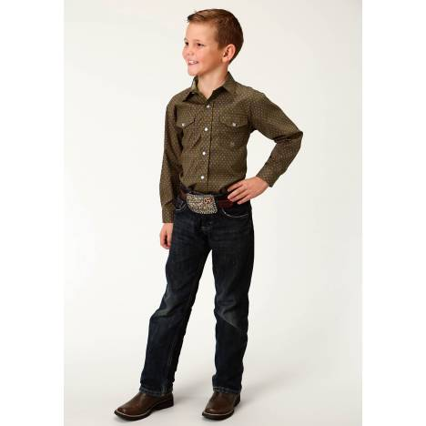 Roper Amarillo Snap Shirt - Boys - Brown Mini Foulard