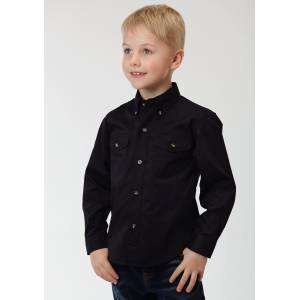 Roper Solid Poplin Button Western Shirt - Boys - Black