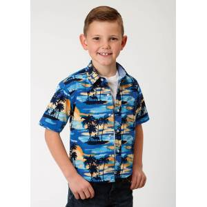 Roper Western Shirt-Boys-Blue Hawaii Print