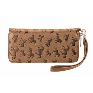Lila Debossed Horses Zip Wallet