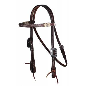Professionals Choice Black Rawhide Dotted Browband Headstall