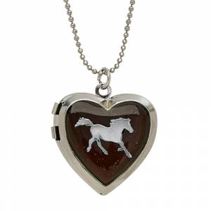 Glitter Mood Horse Heart-Shaped Locket Necklace