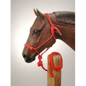 Tough-1 Two-Tone Poly Rope Tied Halter with  Lead