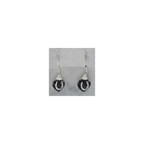 Finishing Touch Heart with Horseshoe Earrings - Black Onyx