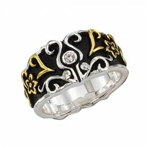 Montana Silversmiths Tri Colored Filigree Tulip Ring