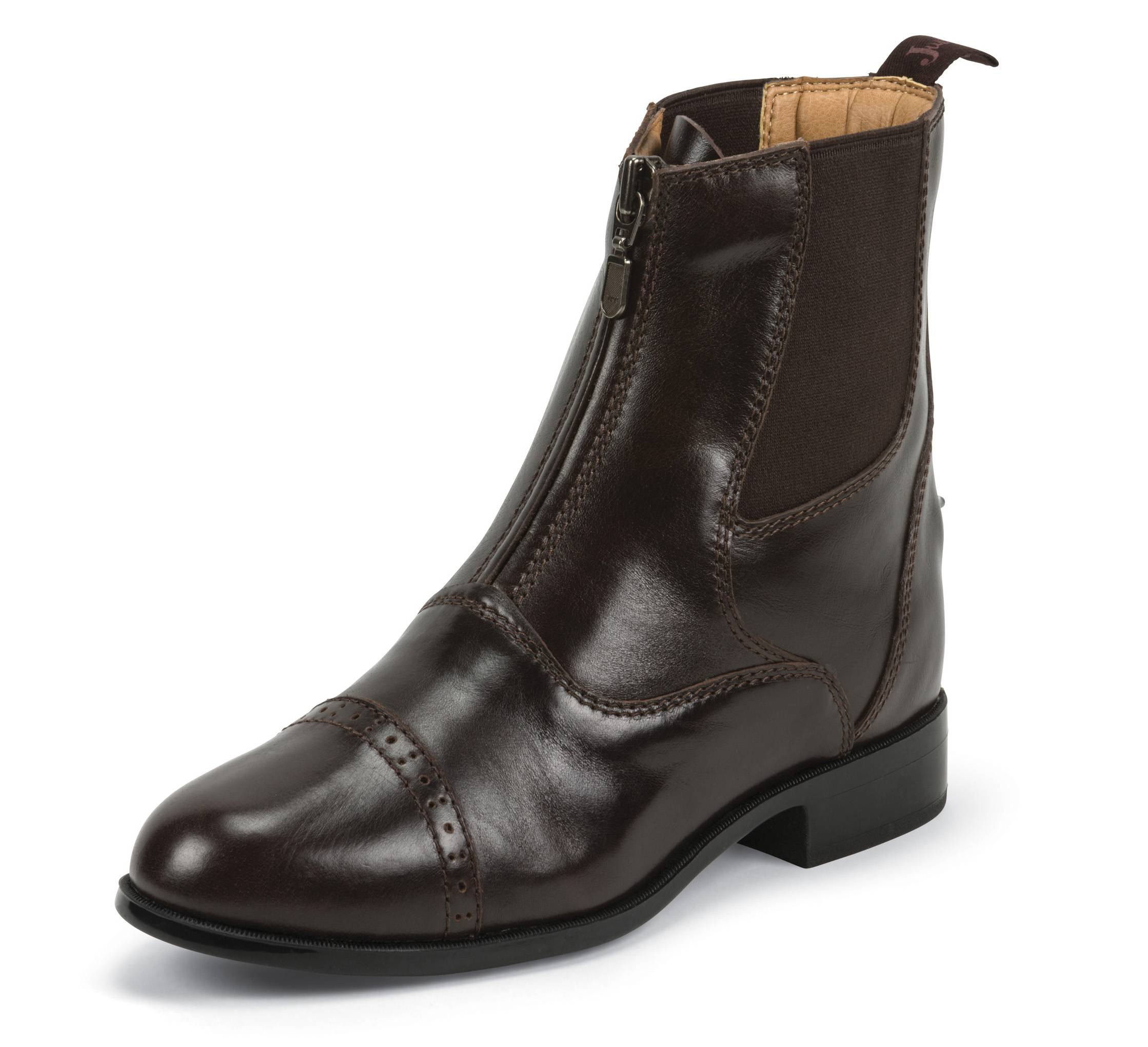 Justin Zip Paddock Boots - Ladies - Chocolate Brown