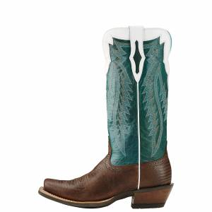 Ariat Futurity - Ladies - Chocolate Lizard Print/Emerald